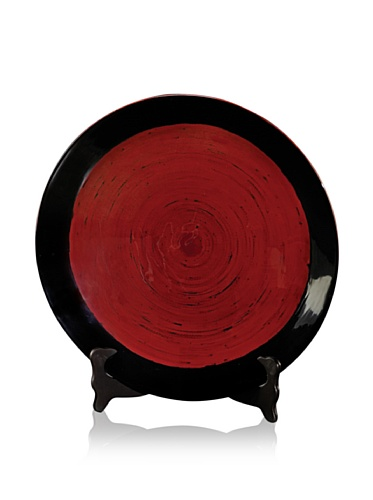 Red Oil Lacquer Bamboo Charger with Stand (Black/Red)