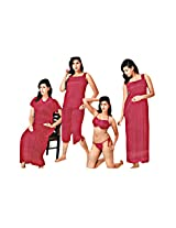 Indiatrendzs Sexy Hot Nighty Honeymoon Nighties Sleepwear 6pc Set -Freesize
