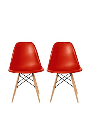 Euro Home Collection Set of 2 Paris Side Chairs, Red