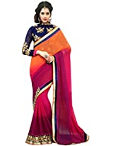 Manvaa multicolour georgette embroidered casual saree