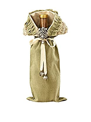Sage & Co. Sage Ruffled Linen Wine Bag with Brooch