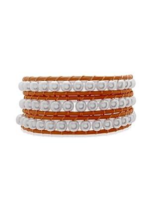 Lucie & Jade Echtleder-Armband Imitationsperlen orange/weiß