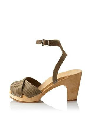 Swedish Hasbeens Women's Strappy Sandal (Military Green Nubuck)