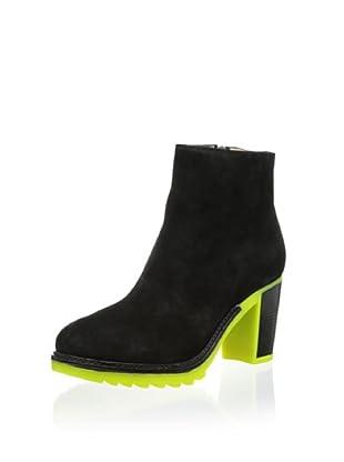 b store Women's Nicole 1 Bootie (Black Suede/Yellow Fluo)