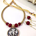 Maroon and gold Ganesha pendant and silk bead set with earrings