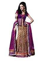 Anvi Creations Embroidered Net Lehenga Choli (Purple Coffee_Free Size)