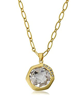 Riccova City Lights Satin 14K Gold Plated Cubic Zirconia Accented Faceted Clear Stone Pendant Necklace