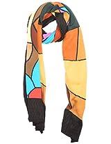 The Knit Factory Women's Acrylic Woolen Stole (1022c_Multi-Colour)