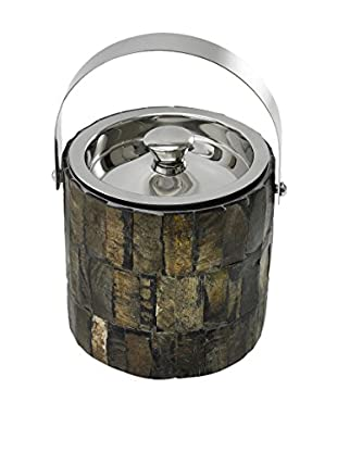 Frances Stoia Stainless Steel Ice Bucket with Horn Inlay