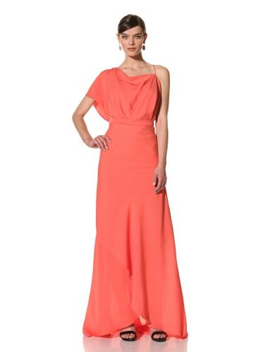 Juan Carlos Obando Women's Asymmetrical Evening Dress (Coral)