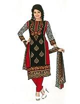 Shree Ganesh Clothing Women Crepe Salwar Suit Dress Material (M-4261 _Black & Red _Free Size)