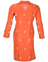PR Chikans Women's Poly Cotton Kurti (Red, Medium)