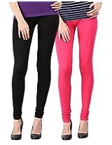 Blackmilan Women's Leggings (ZBMWL-1004-Black-Pink_Multi-Coloured_X-Large)