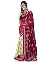 Shree Sanskruti Jaquard and Georgette Half Half Sari for Women