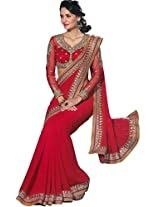 Chirag Sarees Faux Georgette Saree (Tfh11001 _Red)