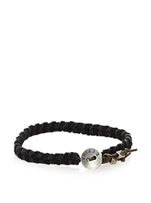 Ettika Men's Black/Green Leather Braided Bracelet