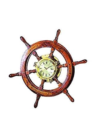 Benzara Wooden Ship Wheel Clock
