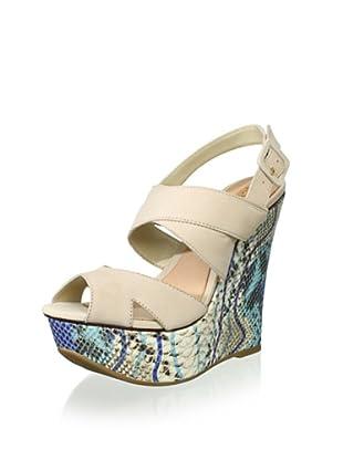 Schutz Women's Platform Wedge Sandal (Coconut/Blue)