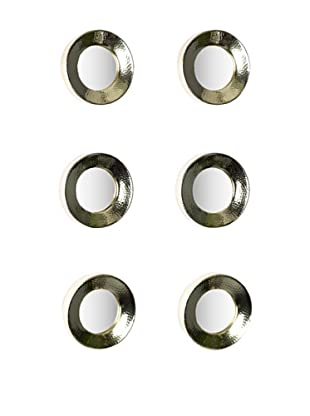 Sidney Marcus Set of 6 Reflections Round Mirrors, Brass