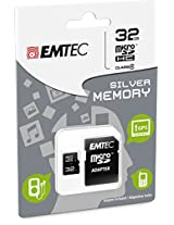 EMTEC 32 GB Class 4 Mini Jumbo Super MicroSDHC Memory Card with Adapter