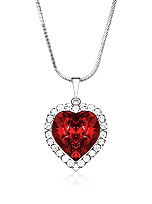Bohemian Love Story Collar Crystal Strass Big Heart Rojo