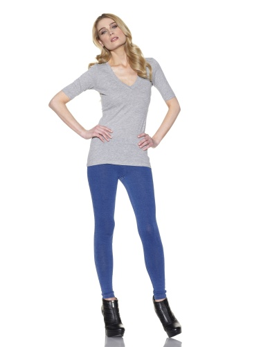 C&C California Women's Short Sleeve Deep V Top (Htr Grey)