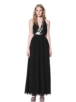 Sheri Bodell Women's Metal Beaded Maxi Dress (Black)
