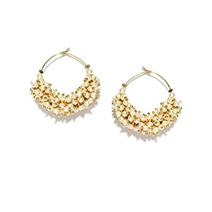 Blissdrizzle pearl Hoop Earring For Women ( Multi-Color )