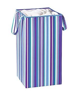 Honey-Can-Do Collapsible Square Laundry Hamper, Bright Blue/Purple Stripe