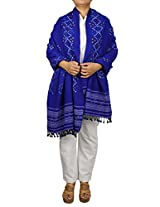Blue Wool Shawl for women - Embroidered Tie and dye Fashion Accessory 78 X 36 Inch