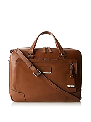 TUMI Astor Ansonia Zip Top Leather Brief, Umber