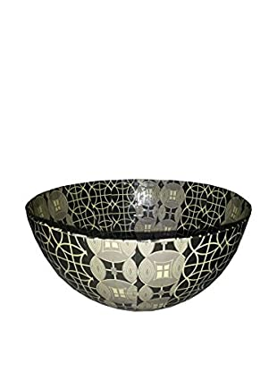 Asian Loft Handcrafted Round Paper Mache Bowl, Black/Grey