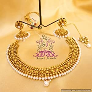 Antique pearl gold look necklace set