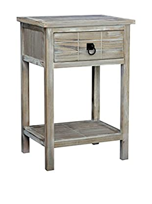 Gallerie Décor Driftwood 1-Drawer Side Table, Weathered White