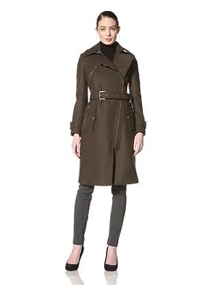 Andrew Marc Women's Minka Asymmetrical Zip Wool Jacket (Olive)