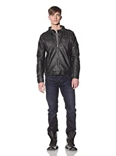 Projek Raw Men's Faux Leather Moto Jacket (Charcoal)