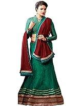 Suchi Women Net Lehenga Saree (Sfjag90201 _Green _Free Size)