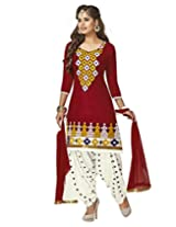 Jevi Prints Red Embroidery Cotton Dress Material with Chiffon Dupatta
