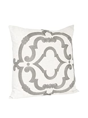 Saro Lifestyle Grey Embroidered Design Pillow