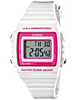 Casio Kids W-215H-7A2VCF Classic Stainless Steel Watch with White Band