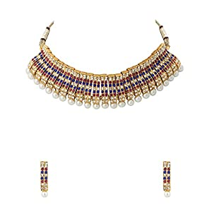 Elegant Gold Plated Necklace Set Embellished With CZ, Colored Stones And Pearls