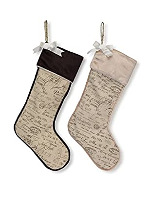 Melrose International Set of 2 Vintage Christmas Cursive Print Stockings