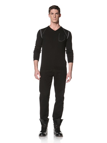 LOVE Moschino Men's Knit Sweater with Contrast Seaming (Black)