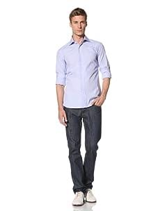 Orian Men's High Collar Dress Shirt (Light Blue)