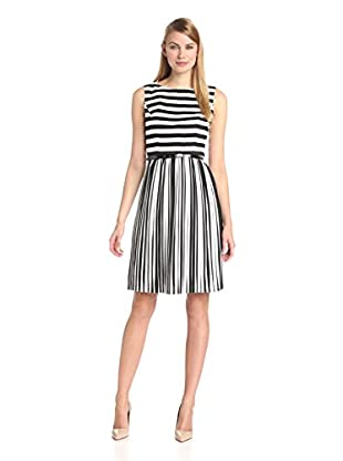 Adrianna Papell Women's Stripe Chiffon Pleated Dress
