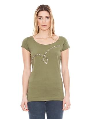 Calvin Klein Jeans Camiseta Cuello Barco Tachuelas Verde Militar S