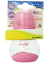 Bebe Dubon Feeding Bottle with Silicone Nipple, 2 Ounce, Colors May Vary