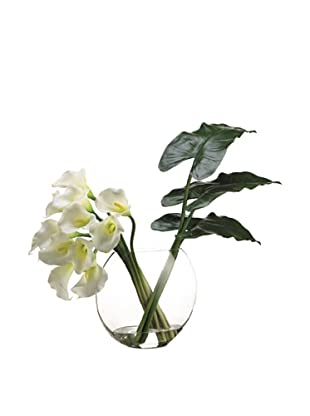 Allstate Floral Calla Lily & Leaves in Glass Vase, White Green