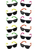 Rhode Island Novelty Neon 80s Style Party Sunglasses With Dark Lens