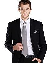 Landisun Solids Mens Silk Tie Set: Tie+Hanky+Cufflinks 343 Dark Grey, 3.25
